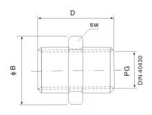 金属内螺纹防水连接套接头螺纹电缆组合件连接件索头结构图