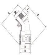 45°快插式尼龙塑料电缆防水接头结构图
